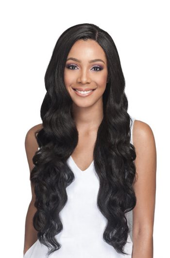 "Bobbi Boss MBLF150 Pekela 4""x4"" Human Hair Blend Swiss Lace Front Wig Front"