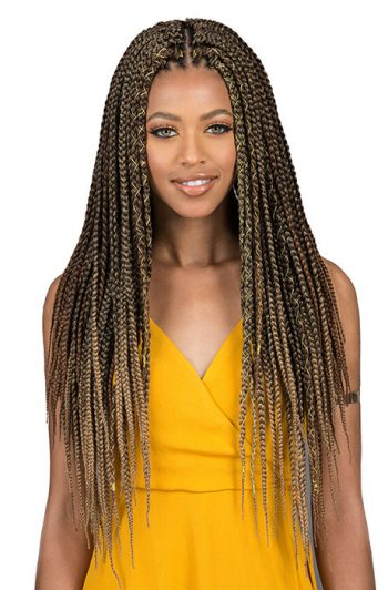 Bobbi Boss Bomba Box Braid Crochet Hair with Gold Accent Thread Center Part