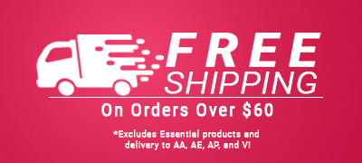 Free Shipping on orders over $60. Excludes Essentials products and delivery to VI, AA, AE and AP.