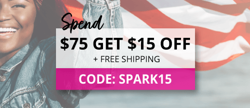 Spend $75 and use code spark15 for $15 off plus free shipping.
