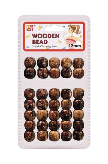 Beauty Town Painted Pattern 1 12mm Wooden Beads #07557