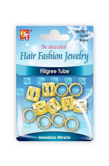 Beauty Town Gold Filigree Tube 8mm #7801