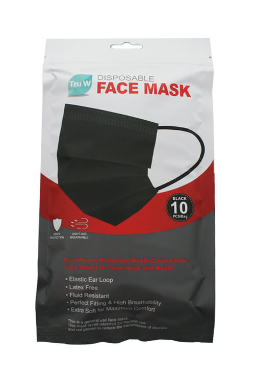 Tru W Black Disposable Face Masks - 10 ct