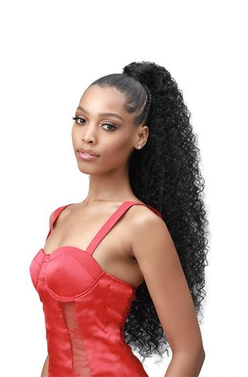 """Bobbi Boss Boss Up Natural Jerry Curl Professional Wrap Pony 30"""" Front"""