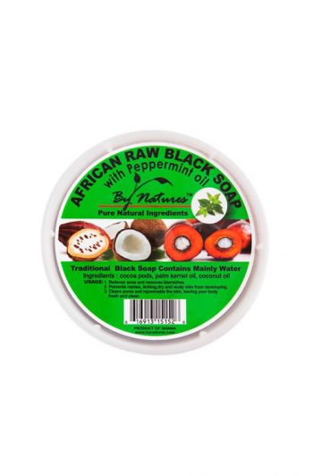 By Natures African Raw Black Soap with Peppermint Oil 8OZ