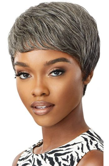Outre Fab and Fly Gray Glamour HH-Eden 100% Human Hair Wig Front