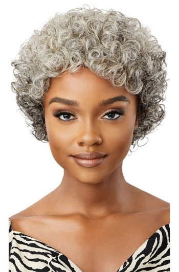 Outre Fab and Fly Gray Glamour HH-Veronica 100% Human Hair Wig Front