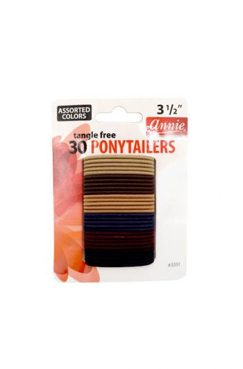 """Annie #3351 Tangle Free Ponytail Holders Assorted Colors 3 1/2"""" 30 ct"""