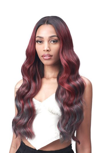 Bobbi Boss Lace Front MLF554 Rosewood Chunky Highlights Premium Synthetic Wig Front