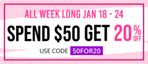 Spend $50 or more and get 20% off with code 50FOR20