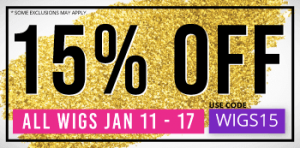 15% Off Most Wigs Through Jan 17