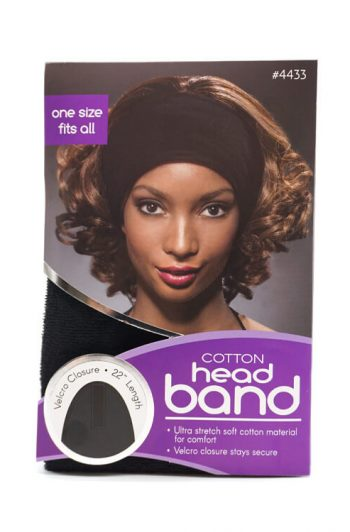Annie Ms. Remi Ultra-Stretchable Velcro Cotton Headband Black #4433