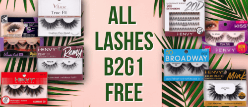 All Lashes are buy 2 get 1 free through 6/20/21. Some exclusions may apply.